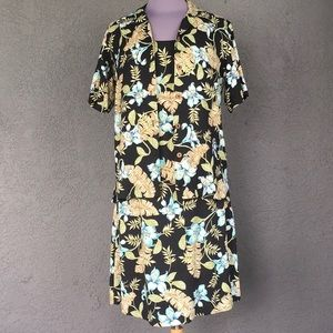 Hawaiian 2 Pc. Dress and Shirt 100% Silk  - Size S